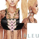 - B L E U - Pink Tri Angular Necklace&Earrings *GOLD* (BOXED)