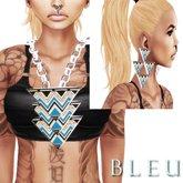 - B L E U - Blue Tri Angular Necklace&Earrings *SILVER* (BOXED)