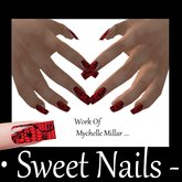 Long Nails 13 Colour Black Lace on Red Metallic Nail Rock Collection