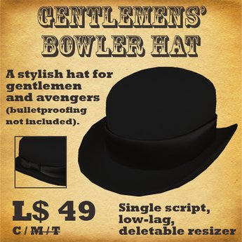 Gentlemens' Bowler Hat (black)