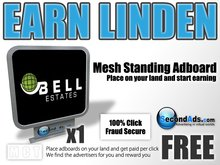 SecondAds Mesh Standing Adboard - Earn Linden Selling Advert Clicks