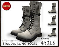 J's Studded Long boots (White)