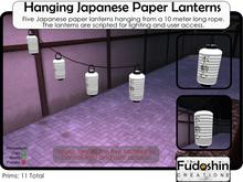 5 Hanging Japanese Paper Lanterns 10 Meters long - Chōchin