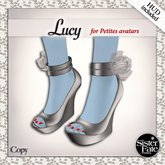 SF* Petites Lucy Peep Toe Wedges w/HUD - Silver Satin