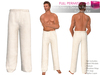 Full Perm CLASSIC RIGGED MESH Men's Male Loose Elastic Waist Linen Summer Beach Casual Lounge White Pants Throusers