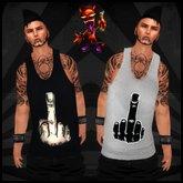 ..::Drunk Devil::.. ~ Finger [Black & White] ~ MESH Tank