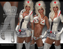 ::FIERCE DESIGNS BAD MEDICINE WHITE NURSES UNIFORM::PROMO + BONUS FREE $25L STORE CARD::Naughty Nurse Halloween Costume