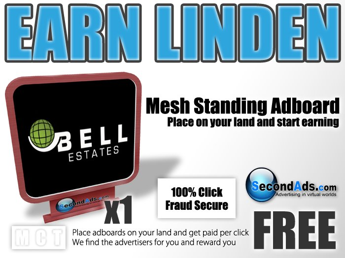 SecondAds Mesh Standing Adboard (Red) - Earn Linden Selling Advert Clicks
