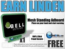 SecondAds Mesh Standing Adboard (Green) - Earn Linden Selling Advert Clicks