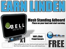 SecondAds Mesh Standing Adboard (Black) - Earn Linden Selling Advert Clicks