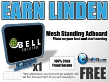 SecondAds Mesh Standing Adboard (Blue) - Earn Linden Selling Advert Clicks