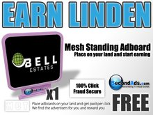SecondAds Mesh Standing Adboard (Pink) - Earn Linden Selling Advert Clicks