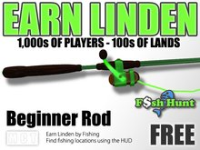 Linden Fish Hunter - Beginner Rod (Green) - Earn Linden by hunting for fish