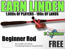 Linden Fish Hunter - Beginner Rod (Red) - Earn Linden by hunting for fish