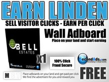 SecondAds Wall Adboard - Earn Linden Selling Advert Clicks