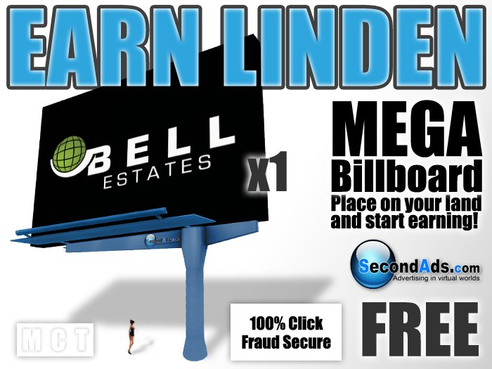 SecondAds MEGA Mesh Billboard (Blue) - Earn Linden Selling Advert Clicks