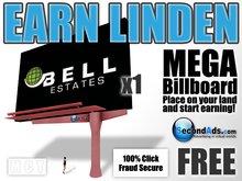 SecondAds MEGA Mesh Billboard (Red) - Earn Linden Selling Advert Clicks