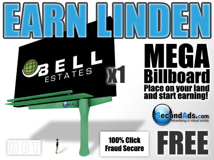 SecondAds MEGA Mesh Billboard (Green) - Earn Linden Selling Advert Clicks