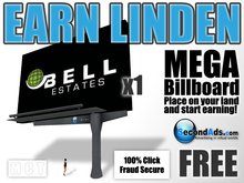 SecondAds MEGA Mesh Billboard (Black) - Earn Linden Selling Advert Clicks