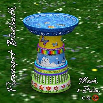 R(S)W Flowerpot Birdbath - Painted Pots