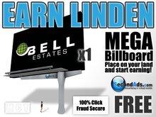 SecondAds MEGA Mesh Billboard (Grey) - Earn Linden Selling Advert Clicks