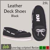 ::Duh!:: Men's Leather Deck Shoes - Black