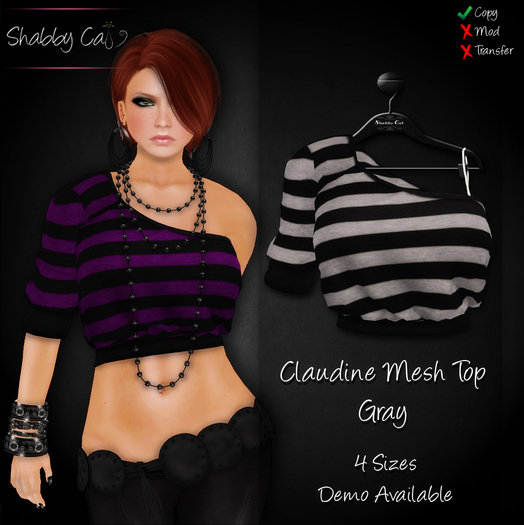 ~Claudine Mesh Top Gray - Shabby Cat~