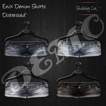 ~Enix Distressed Denim Shorts Demo - Shabby Cat~