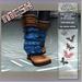 =KKC!= MESH Wedge Boots - Leather n Blue Garden