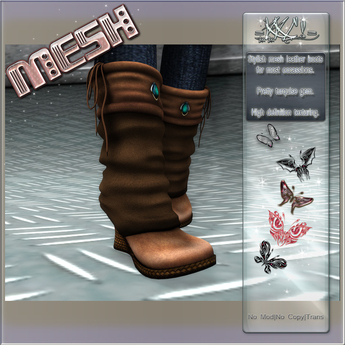 =KKC!= MESH Wedge Boots - Brown Leather