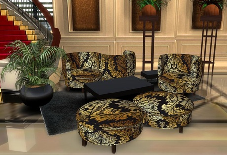 Second Life Marketplace Gold Black Damask Plush S Living Room Set Boxed