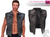 FULL PERM CLASSIC RIGGED MESH Men's Male Sleeveless Shirt Neck Open Front Denim Vest Jacket - 4 TEXTURES