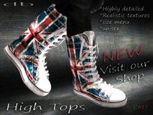 :: db :: High Tops #5  Boots - Unisex Denim Union Jack Style