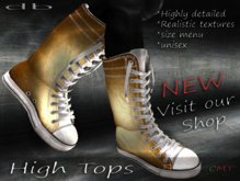 :: db :: High Tops #11 Unisex Boots - Gold Leather High Top Sneaker