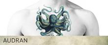 AUDRAN Unisex Collarbone Chest Tattoo 'Octopus Blues'