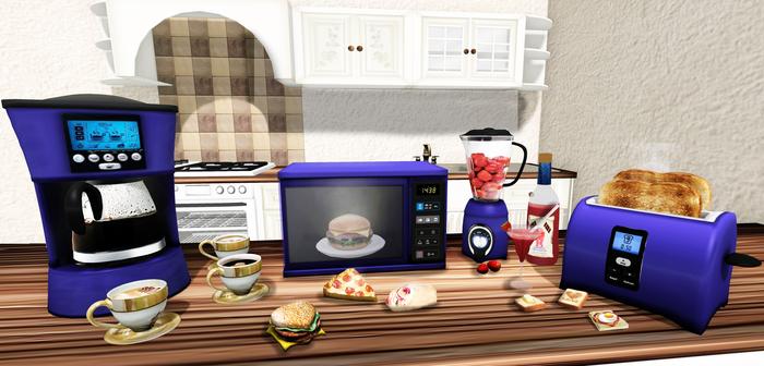 Aphrodite Kitchen appliances BLUE color -Microwave- Blender-Toaster & Coffee maker