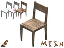 Simple Rustic Mesh Chair - weathered and bloody