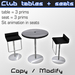 Modern club seats and table