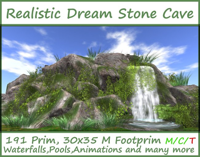 Realistic Dream Stone Cave ( for Cave Waterfall Grotto Landscaping )