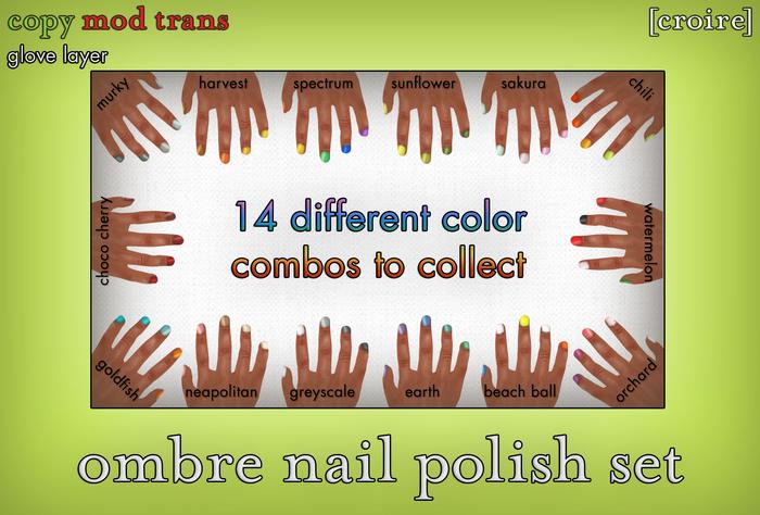 [croire] Ombre Nail Polish Set (14 color combos total) manicure glove layers