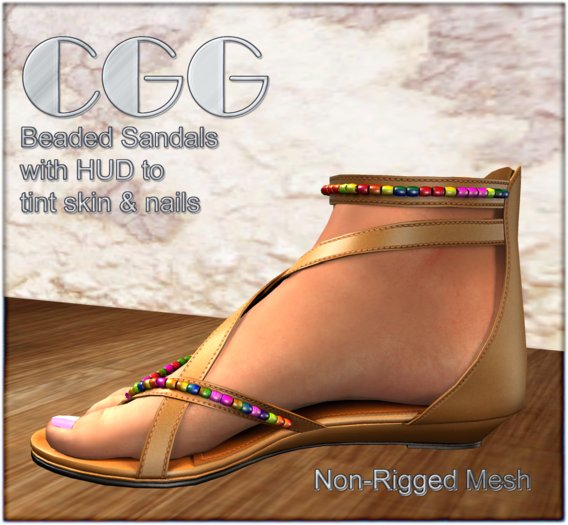 CGG Beaded Sandals with HUD to Tint Skin & Nails