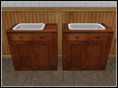 Second Life Marketplace Re Old Wood Cupboard W Sink Set Vintage Decor Decoration