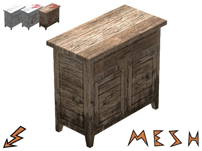 Simple Rustic Mesh Cupboard - weathered and bloody
