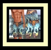 ♡ Men's Tropical Surfer Swim Shorts - Attractive Swimwear for Beach, Sailing, Beach Party, Hanging Out Or Just For Fun
