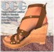 CGG Braided Taupe Leather Wedge Sandals with HUD to Tint Skin & Nails