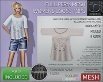 -TD- TEMPLATES - Womens MESH Loose Tops *FULL PERMS*