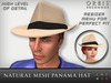 Natural Panama Fedora Hat - Mesh