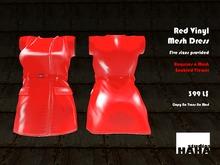!Red Mesh Vinyl PVC Dress