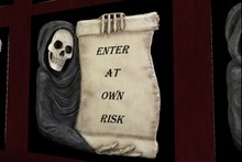 Grim Scroll Enter At Your Own Risk Sign