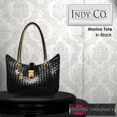 Indy&Co.: Marina Charmed & Woven Tote Bag: Noir